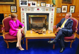 19/6/2015 Taoiseach and Fine Gael leader Enda Kenny met with the First Minister of Scotland, The Right Honourable Nicola Sturgeon MSP in Government Buildings today ahead of the British-Irish Council (BIC) Summit. Photo: Mark Stedman/RollingNews.ie