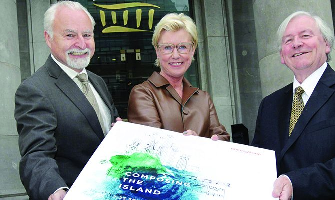 29/5/2016 Launch of Composing the Island. Pictured are, from left, Simon Taylor CEO of the National Concert Hall, Moya Doherty Chair of the RTE Board and John Horgan Chairman of Bord na Mona in front of the National Concert Hall at the launch of Composing the Island: A century of music in Ireland 1916-2016 taking place from September 7-25, with over 29 concerts being presented of orchestral, choral, instrumental, song and chamber music by Irish composers written between 1916 and 2016. www.nch.ie Photograph: Mark Stedman / Photocall Ireland