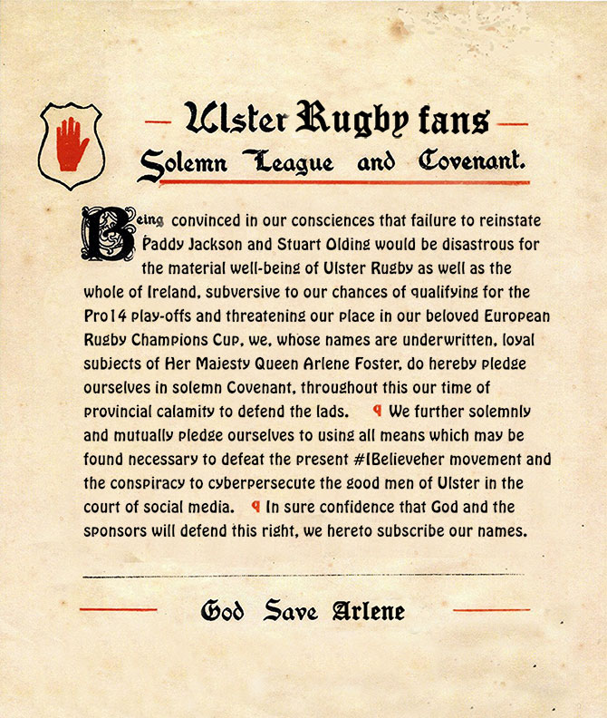Ulster Rugby Coveneant