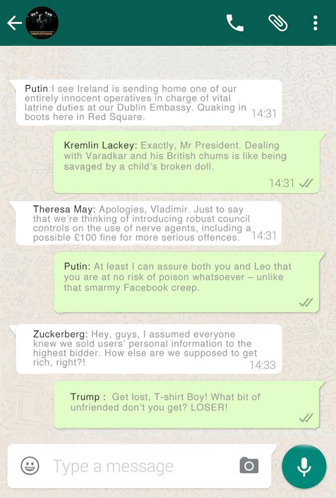 Leaked Putin whatsapp