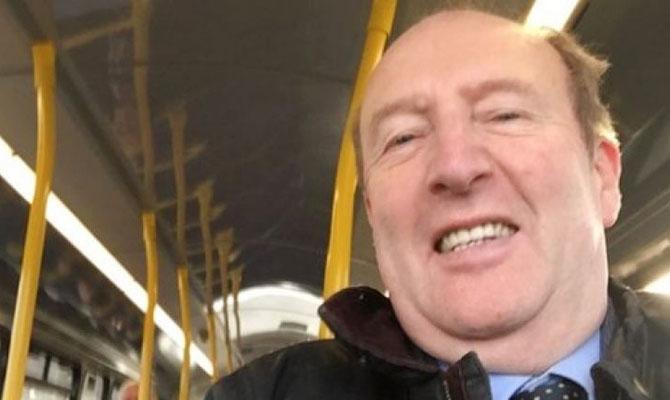 Shane Ross on bus