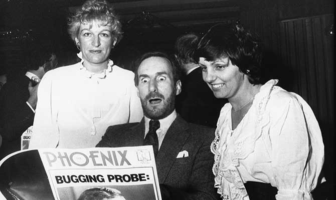 At the launch party of The Phoenix in 1983, John with long-time trusted colleague Noreen Russell (right) and Pat Moylan (left)