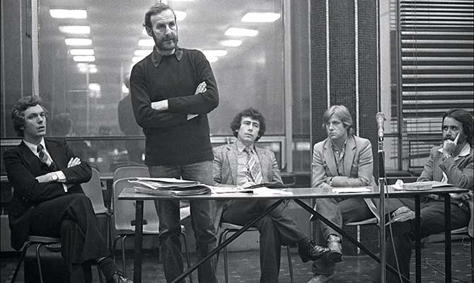 John speaking at a prisoners' rights meeting with former TD and retired judge Pat McCartan (left) and former minster Joe Costello (right), 1980.