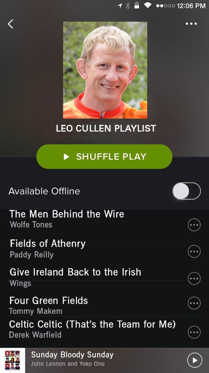 Spotify Leo Cullen