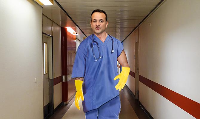 Leo scrubs up